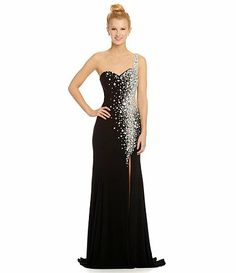 6c4a1ad8b65 JVN by Jovani one shoulder beaded gown Available at Dillards.com  Dillards