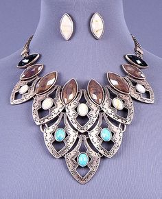 Western Gold Blue Brown Cream Stones Tiered Bib Fashion Necklace Earring Set #FashionJewelry