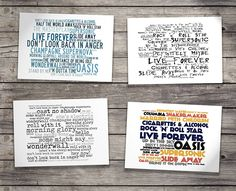 Deluxe Gift Set - OASIS - With Art Presentation Collector`s Folder - 4 x Retro Oversized A5 Postcards - Based On Limited Edition Typography Album Artwork by Lissome Art Studio - Collectable Music Song Lyrics Postcard Poster Art Prints: Amazon.co.uk: Kitchen & Home