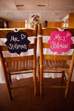 handmade DIY Mr. and Mrs. chair decor, navy and hot pink his and hers chair decor, hot pink country cowboy DIY wedding, rustic wedding ideas, Chapel Hill wedding, Katelyn James Photography