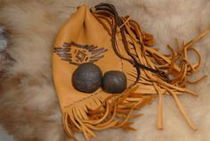 Moqui Marbles Shaman Stones with tribal by HollyHawkDesigns