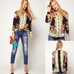5afa4133598 New fashion Lapel Collar Button flowers Cane Print Chiffon Long Sleeve For Womens  Shirt Tops Blouses on AliExpress.com. 15% off  12.32