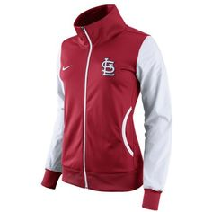 Nike Women's St. Louis Cardinals Full-Zip Track Jacket ($75) ❤ liked on Polyvore featuring activewear, activewear jackets, red, athletic sportswear, logo sportswear, nike sportswear, tracksuit jacket and track top