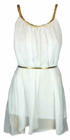 WOMEN LADIES GREEK GLADIATOR STYLE GOLD BELTED TIE UP GRECIAN CHIFFON MINI DRESS   eBay