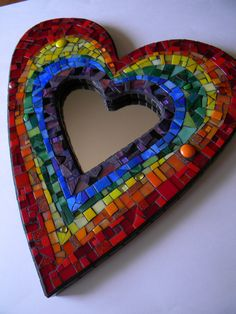 Rainbow Heart Mosaic Mirror Original Art by TheMosartStudio, $225.00