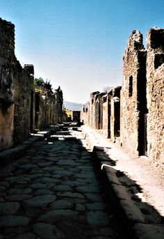 Pompeii. Life in the Time of Eruption: Vesuvius - The World Is an Oyster Pompeii, Travelogue, Sidewalk, Wanderlust, World, Life, The World, Walkways, Pavement