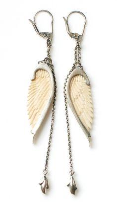 Ava Silver and Bone-Wing Earrings