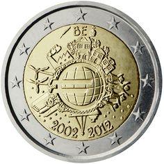 Monedas - X Aniversario del €uro - Moneda 2 euros Bélgica 2012