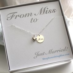 Just Married Mrs. Necklace, Engraved Script & Heart Charm in Sterling Silver, New Bride, Bridal Shower Gift, Honeymoon, Sentiment Card. $42.50, via Etsy. How cute, don't care for the script font though.