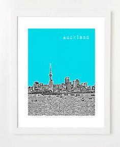 Auckland Art Print  Auckland New Zealand Skyline by BugsyAndSprite, $20.00