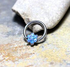 Blue Opal Flower by Purityjewel on Etsy Nostril Ring, Cartilage Ring, Cartilage Jewelry, Daith Earrings, Piercings, Daith Piercing, Tragus, Conch Jewelry, Body Jewelry