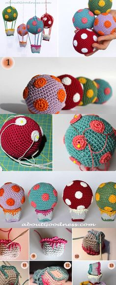 There are countless options for using these Hot Air Balloons as versatile gifts (baby mobile, joggling balls), and it is up to your imagination to choose. Crochet Decoration, Crochet Home Decor, Crochet Crafts, Crochet Toys, Crochet Projects, Knit Crochet, Crochet Baby Mobiles, Crochet Mobile, Amigurumi Patterns