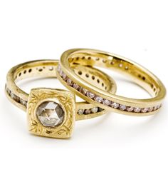 the diamond ring looks exactly like my great grandmother's ring from the 1900's, that I have. This is a beautiful ring set, and adds a simple vintage flare.