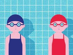 We Are Wednesday, Motion, GIF,  slow, smooth, water, swimming, Flat, vector, illustration