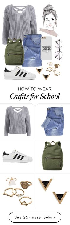"""""""School Casual ❤"""" by lovepink5247 on Polyvore featuring Taya, adidas, Cara and Herschel Supply Co."""