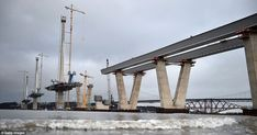 Under construction: The new Queensferry Crossing over the Firth of Forth is gradually taki...