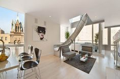 Sliding Down A New York Penthouse Double Level Floor Plan