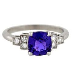 Natural Color Changing 1.65 Carat Sapphire Diamond Platinum Ring