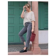 Striped tee, jeans and loafers | Photo shared by Claudia | For more style inspiration visit 40plusstyle.com