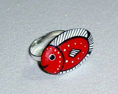 Red white fish rock stone adjustable silver ring jewelry gift wrap stocking stuffer gift under 25 USD for her hand painted by Rockartiste