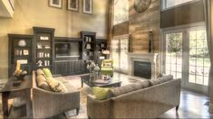 2 Story Living Room Decorating Ideas Two Story Great Room With Stunning Fireplace Dream Home Ideas On Family Room Decorating Ideas Crafty Simple Modern Story Living Room With Fireplace, Home Living Room, Living Room Designs, Living Room Decor, Fireplace Wall, Two Story Fireplace, Fireplace Windows, Foyers, Furniture Layout