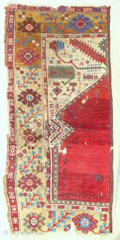 Iconic Sailer unique wide Ladik prayer rug half. Early 18th c. Published in Hali. Conserved and professionally mounted on linen.