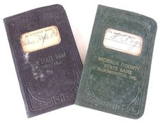 Vintage Savings Passbook Bank Books from Monroe Co. and Union State Bank, Indiana