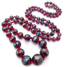 Vintage Art Deco Cranberry Bohemian Petroleum Rainbow Foil Glass Bead Necklace | Clarice Jewellery | Vintage Costume Jewellery