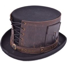 Steampunk Top Hat Victorian with Genuine Leather Strapped Goth Cosplay Antique - iHATS. The Classic beautiful handmade High Quality Steampunk Top Hat which made of luxurious wool felt with genuine leather strapped. Steampunk Hut, Steampunk Top Hat, Victorian Steampunk, Leather Hats, Real Leather, Brown Leather, Angel Outfit, Black Top Hat, Cosplay Costume