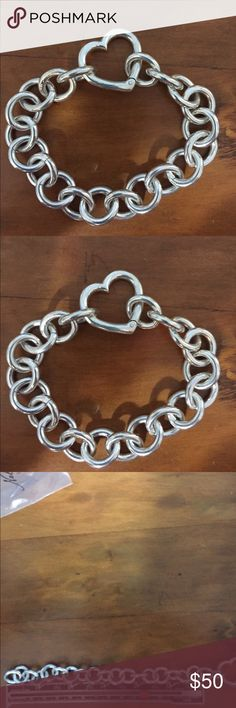 "Sterling silver 7"" bracelet heavy heart clasp Sterling silver marked .925 heart bracelet 7"" very heavy NOT TIFFANY none Jewelry Bracelets"