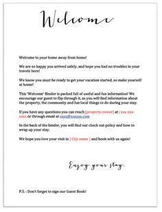 Airbnb Welcome Letter Template Free Airbnb Rentals, Vacation Home Rentals, Cancun, Airbnb House Rules, Guest Room Essentials, Letter Templates Free, Welcome Letters, Airbnb Host, Rental Decorating