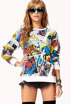Marvel™ Comic Graphic Pullover--for the geek chic girl in all of us Marvel Fashion, Geek Fashion, Womens Fashion, Quirky Fashion, Estilo Geek, Marvel Clothes, Junior, Geek Chic, Cute Shirts