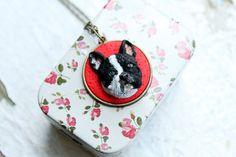 French bulldog custom portrait - Polymer clay necklace