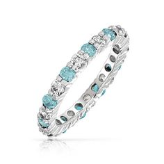Under the Sea Bling Jewelry 925 Silver Aquamarine Color CZ March Birthstone Eternity Band Ring