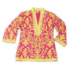 Calypso Tunic in Pink & Yellow Ikat