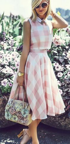 Gingham skirt and crop top