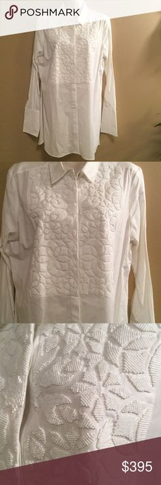 New Figue Beaded Tux White Shirt Medium Emmanuelle Tux White long sleeve lightweight 100% Cotton Beaded embellished Medium blouse retail $795 Figue Tops