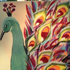Peacock painting on canvas