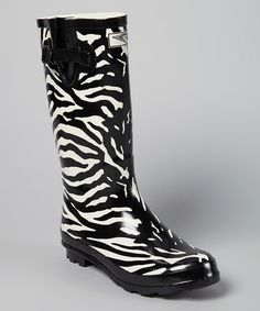 Love this Black & White Zebra Rain Boot by Forever Young Inc. on #zulily! #zulilyfinds