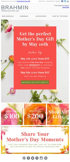 Brahmin Handbags Mother's Day Email Newsletter #email #newsletter #eblast Mother's Day Gifts Online, Email Layout, Email Newsletter Design, Email Design Inspiration, Responsive Email, Fashion Banner, Ad Design, Graphic Design, Website Design Layout