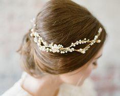 697_Naturale perla bianca copricapo Copricapo ramoscello