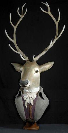 Paper mache Paper Mache Sculpture, Pottery Sculpture, Sculpture Art, Paper Mache Animals, Clay Animals, Portrait Sculpture, Modern Southwest Decor, Victorian Dollhouse, Modern Dollhouse