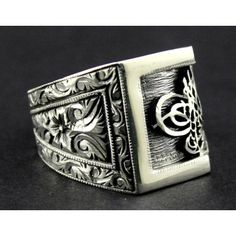 Sterling Silver 925 men ring .ethnic design with.monogram of the Sultan of the Ottoman Empire