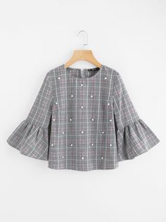 SheIn offers Pearl Beading Trumpet Sleeve Plaid Top & more to fit your fashionable needs. Girls Fashion Clothes, Girl Fashion, Girl Outfits, Cute Outfits, Clothes For Women, Womens Fashion, Fashion Design, Muslim Fashion, Modest Fashion