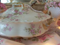 antique haviland & co pink and white fine china by polkadotrose