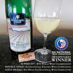Dr. Frank 2012 Dry Riesling is an outstanding vintage that has won many top awards.  Available at www.drfrankwines.com