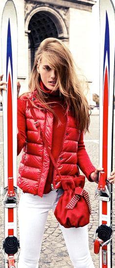 Women's ski wear | Winter fashion | Red vest