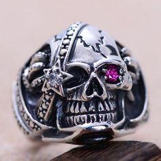 Men's Sterling Silver Pirate's Skull Ring $46
