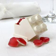 Children's wedding favours. Lego sweet box.