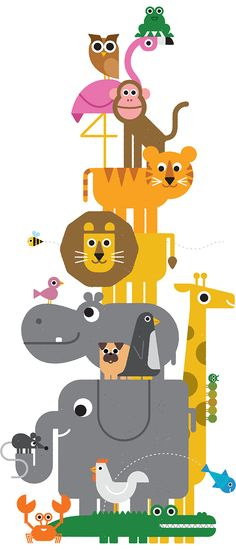 A couple fo months ago, inspired by the work of the incredible Ed Emberley, I started to draw some animals in a minimalist style, using basign shapes and adding just few elements to characterize them.It& a growing collection that I hope you& enjoy. Children's Book Illustration, Digital Illustration, Animal Illustrations, Kids Prints, Grafik Design, Nursery Art, Art For Kids, Kids Room, Character Design